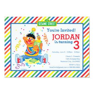 Ernie Striped Birthday 13 Cm X 18 Cm Invitation Card