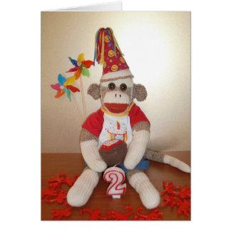 Ernie the Sock Monkey 2nd Birthday Card