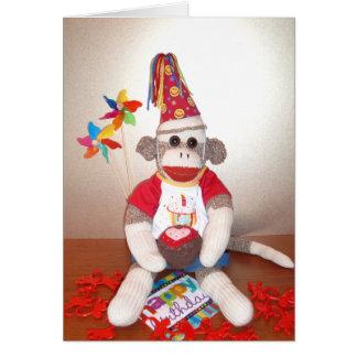 Ernie the Sock Monkey Birthday Card