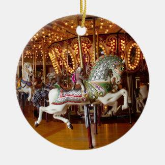 Ernie the Sock Monkey Carousel Round Ornament