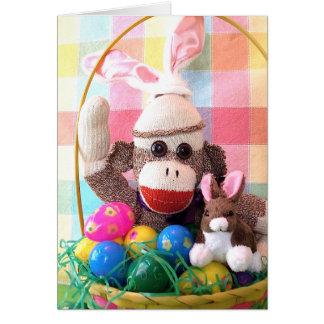 Ernie the Sock Monkey Easter Basket Card