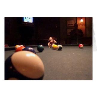 Ernie the Sock Monkey Pool Hall Note Card