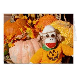 Ernie the Sock Monkey Pumpkin Note Card