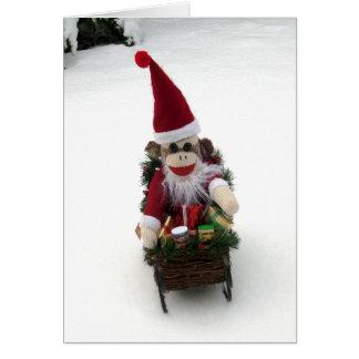 Ernie the Sock Monkey Santa Christmas Card