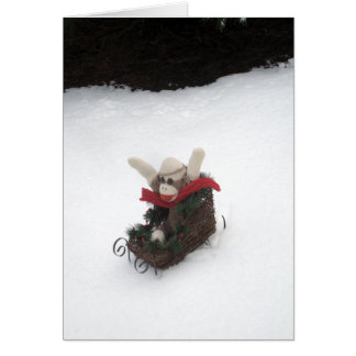 Ernie The Sock Monkey Sleigh Holiday Card
