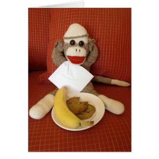 Ernie the Sock Monkey Snack Note Card