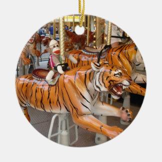 Ernie the Sock Monkey Tiger Carousel Ornament