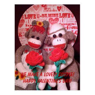 Ernie the Sock Monkey Valentine Couple Postcard