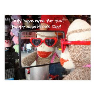 Ernie the Sock Monkey Valentine Postcard