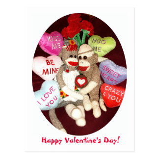 Ernie the Sock Monkey Valentine's Day Postcard