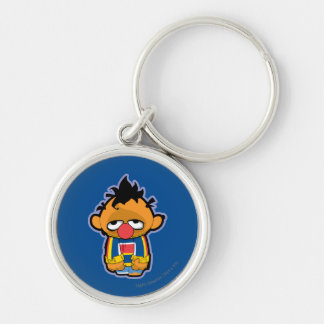 Ernie Zombie Silver-Colored Round Key Ring