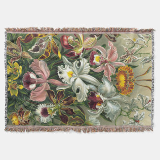 Ernst Haeckel Art Print:Orchidae Oncidiums, tulips Throw Blanket