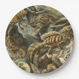 Ernst Haeckel old fashion illustration Lacertilia Paper Plate