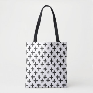 Eroded Black Watercolor Crosses on White Tote