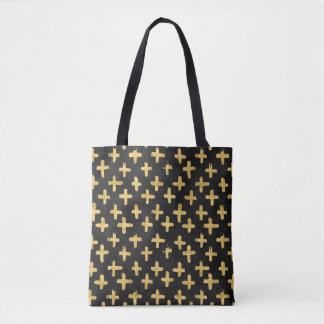 Eroded Golden Crosses on Black Watercolor Tote