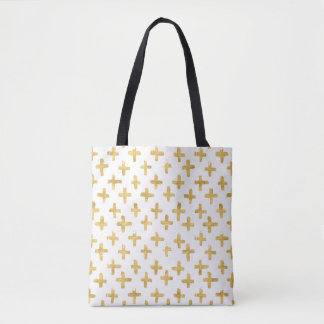 Eroded Golden Crosses on White Background Tote