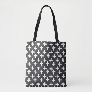 Eroded White Crosses on Black Watercolor Tote