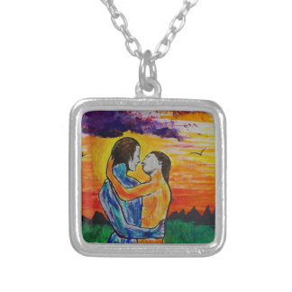 Eros and Psyche at sunset Silver Plated Necklace