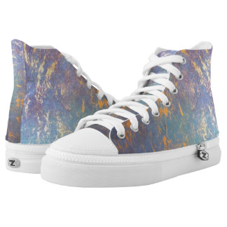 Erratic Abstract Pastel Muted Rainbow Watercolor High Tops