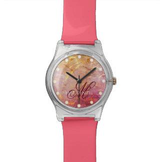 Erratic Bling | Name Watercolor Orange Pink Gold Watch