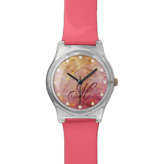 Erratic Bling | Name Watercolor Orange Pink Gold Wrist Watches