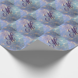 Erratic Party | Monogram Watercolor Rainbow Pastel Wrapping Paper