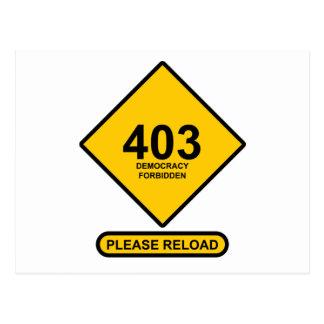Error 403: Democracy Forbidden Post Card