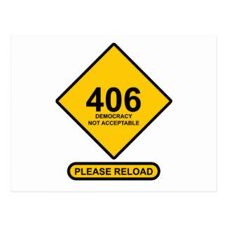 Error 406: Democracy Not Acceptable Postcard