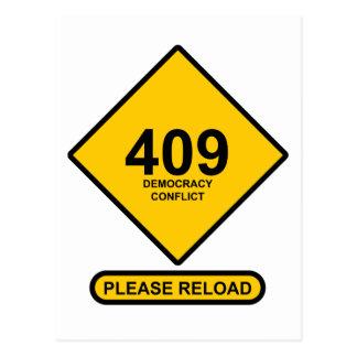 Error 409: Democracy Conflict Postcard