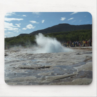Erupting geyser in Iceland Mouse Pad