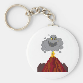 Erupting Of Volcano With Black A Black Cloud Key Ring