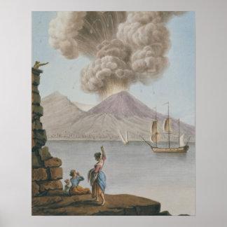 Eruption of Vesuvius, Monday 9th August 1779, plat Poster