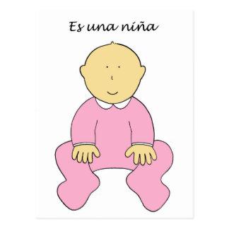 Es una niña, spanish, it's a girl. postcard