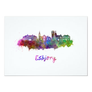 Esbjerg skyline in watercolor card