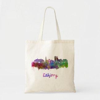 Esbjerg skyline in watercolor tote bag