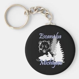 Escanaba Michigan Snowmobile Bear Basic Basic Round Button Key Ring