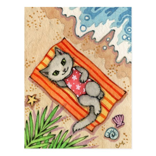 Escape - Cute Beach Cat Art Postcard