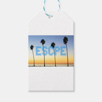 Escape to palm trees design gift tags