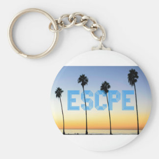Escape to palm trees design key ring