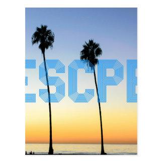 Escape to palm trees design postcard