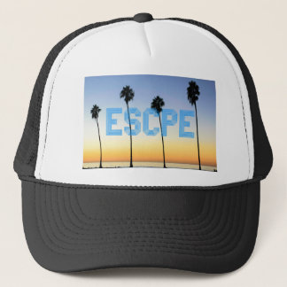 Escape to palm trees design trucker hat