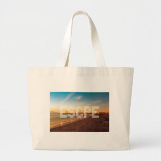 Escape to the beach design large tote bag