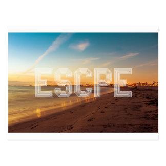 Escape to the beach design postcard