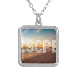 Escape to the beach design silver plated necklace