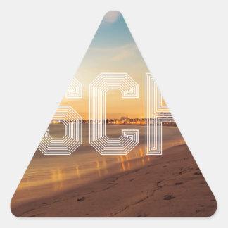 Escape to the beach design triangle sticker