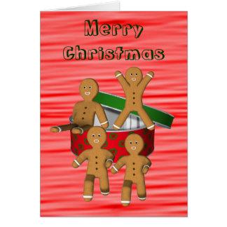 Escaping Gingerbread Men Funny Christmas Card