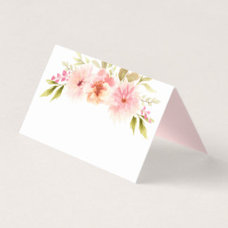 Escort Place Card | Pink Watercolor Flowers