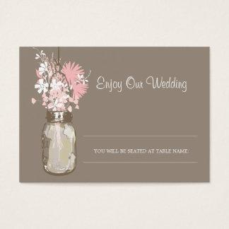 Escort Seating Card Wild Flowers & Mason Jar
