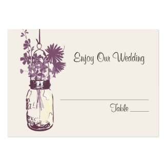 Escort Seating Card Wild Flowers & Mason Jar Business Card Template
