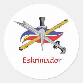 escrima-logo-transparent, Eskrimador Classic Round Sticker
